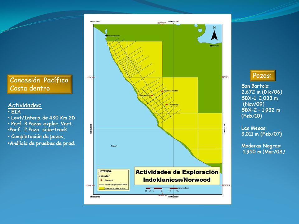 Actividades: EIA Levt/Interp. de 430 Km 2D. Perf. 3 Pozos explor. Vert. Perf. 2 Pozo side-track Completación de pozos, Análisis de pruebas de prod. Sa