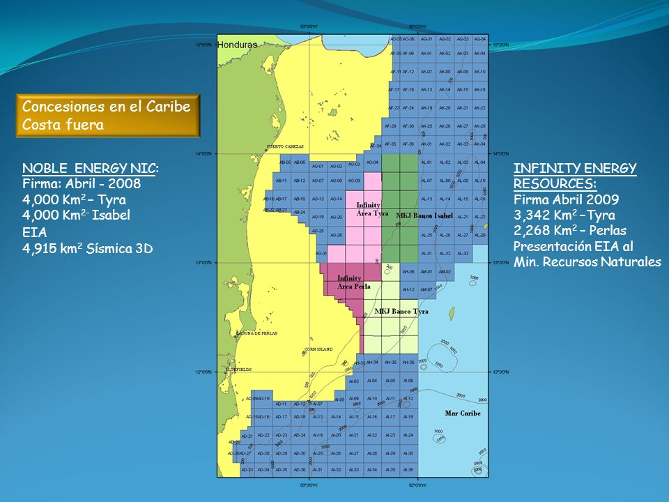 Concesiones en el Caribe Costa fuera NOBLE ENERGY NIC: Firma: Abril - 2008 4,000 Km 2 – Tyra 4,000 Km 2- Isabel EIA 4,915 km 2 Sísmica 3D INFINITY ENE