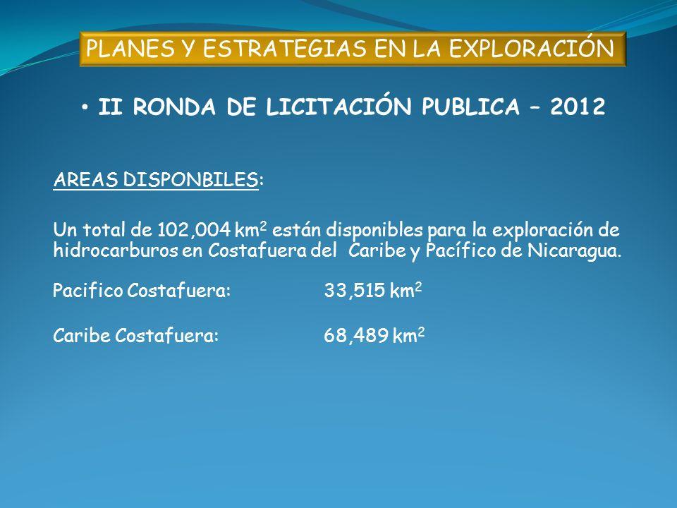 PLANES Y ESTRATEGIAS EN LA EXPLORACIÓN II RONDA DE LICITACIÓN PUBLICA – 2012 AREAS DISPONBILES: Un total de 102,004 km 2 están disponibles para la exp