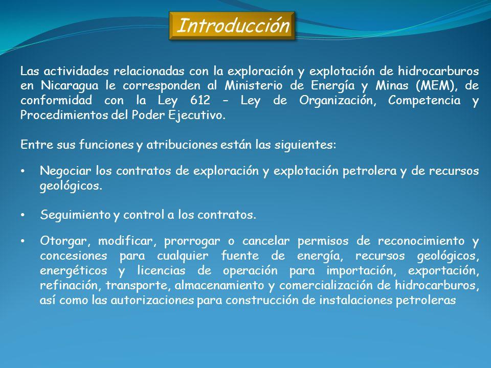Las actividades relacionadas con la exploración y explotación de hidrocarburos en Nicaragua le corresponden al Ministerio de Energía y Minas (MEM), de