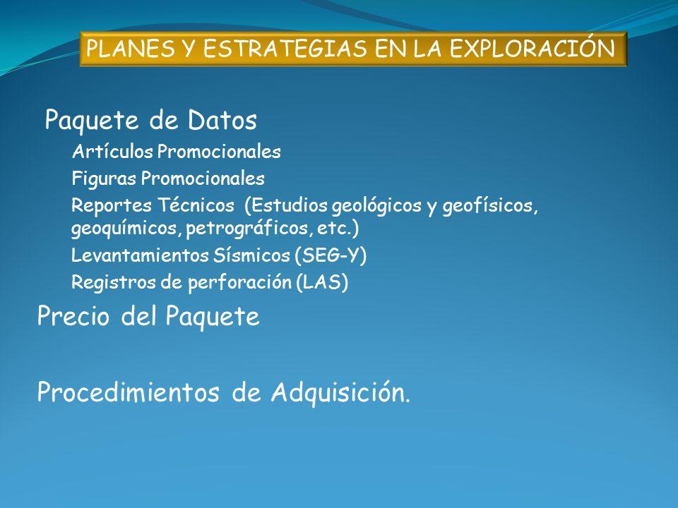 PLANES Y ESTRATEGIAS EN LA EXPLORACIÓN Paquete de Datos Artículos Promocionales Figuras Promocionales Reportes Técnicos (Estudios geológicos y geofísi