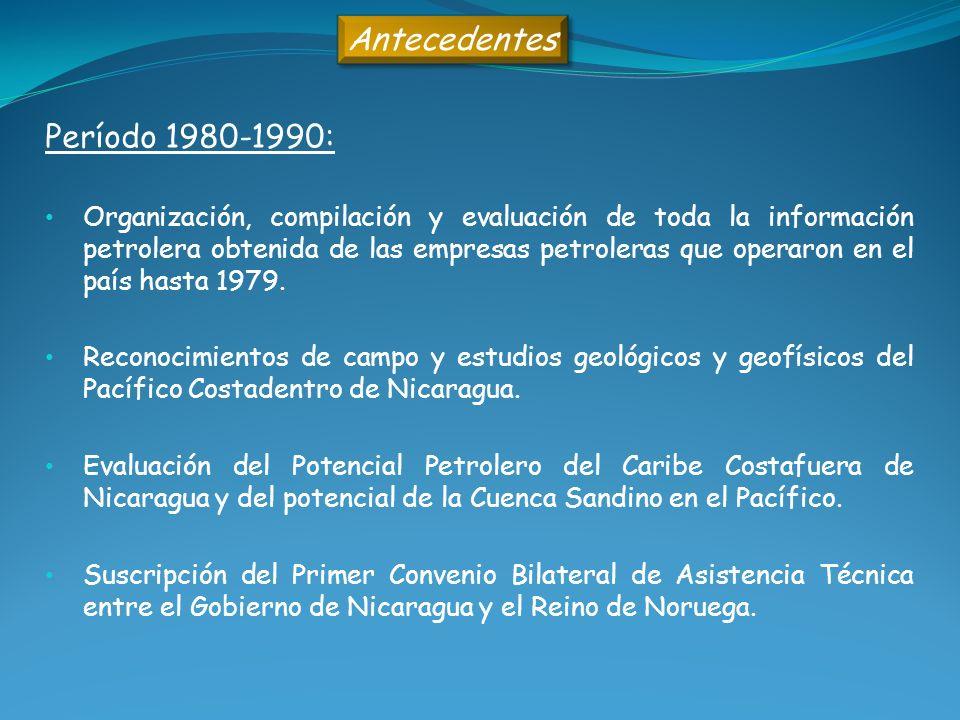 Antecedentes Período 1980-1990: Organización, compilación y evaluación de toda la información petrolera obtenida de las empresas petroleras que operar