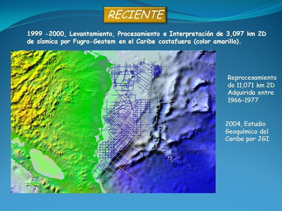RECIENTE 1999 -2000, Levantamiento, Procesamiento e Interpretación de 3,097 km 2D de sísmica por Fugro-Geotem en el Caribe costafuera (color amarillo)