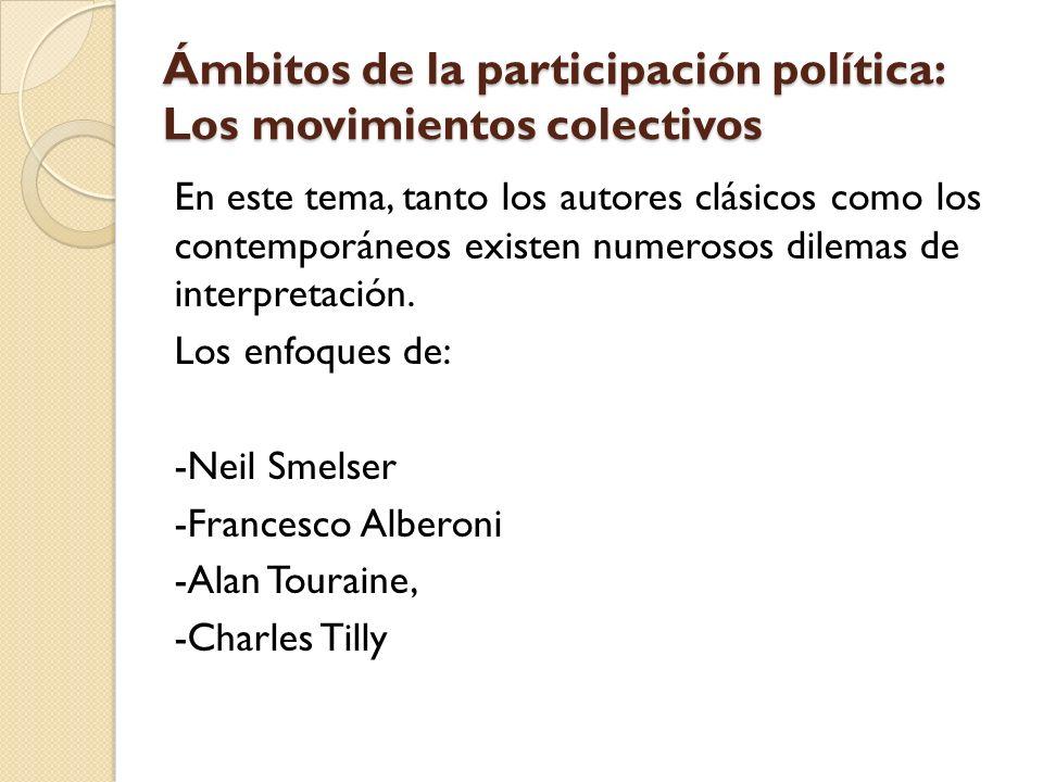 Ámbitos de la participación política: Los movimientos colectivos En este tema, tanto los autores clásicos como los contemporáneos existen numerosos di
