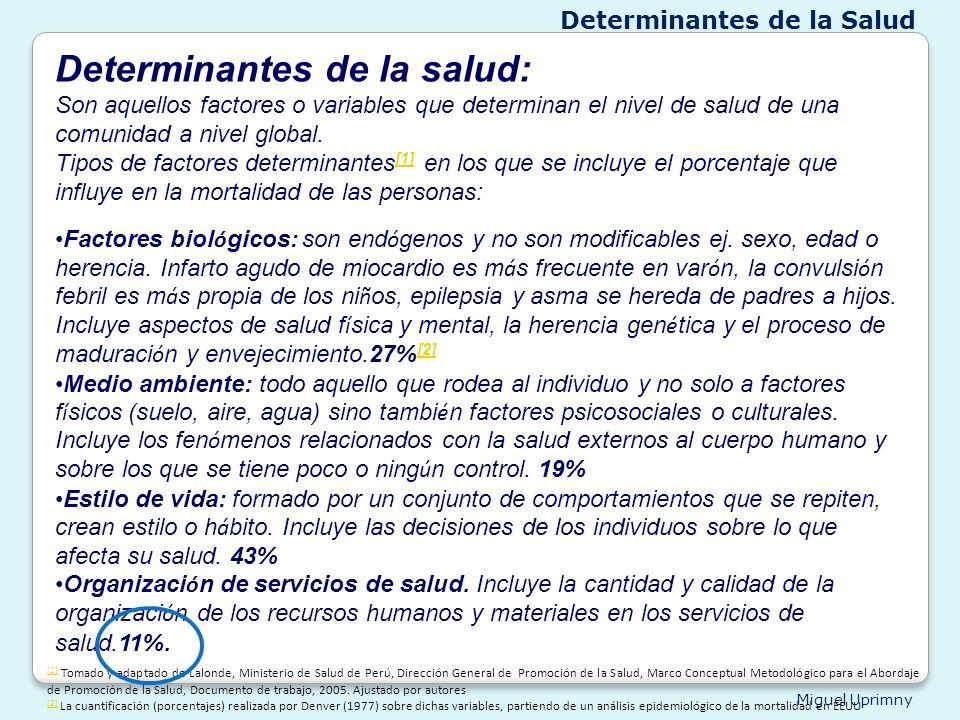 Miguel Uprimny Determinantes de la salud: Son aquellos factores o variables que determinan el nivel de salud de una comunidad a nivel global. Tipos de