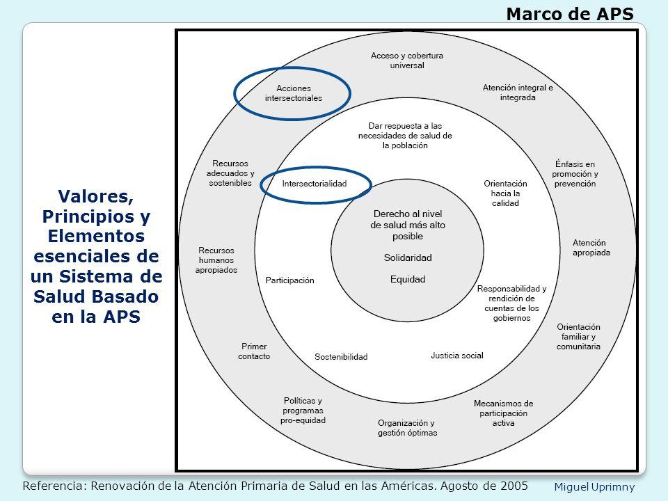 Miguel Uprimny Valores, Principios y Elementos esenciales de un Sistema de Salud Basado en la APS Marco de APS Referencia: Renovación de la Atención P