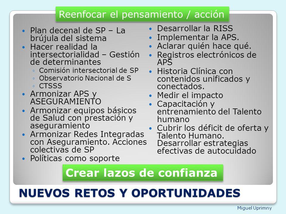 Miguel Uprimny NUEVOS RETOS Y OPORTUNIDADES Plan decenal de SP – La brújula del sistema Hacer realidad la intersectorialidad – Gestión de determinante