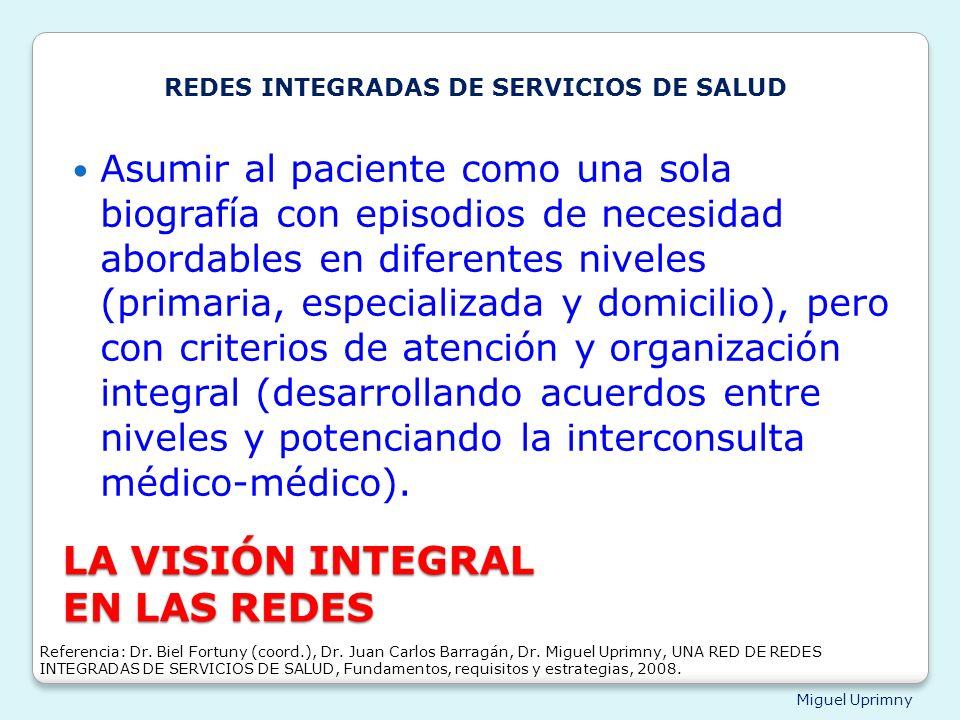 Miguel Uprimny LA VISIÓN INTEGRAL EN LAS REDES Asumir al paciente como una sola biografía con episodios de necesidad abordables en diferentes niveles