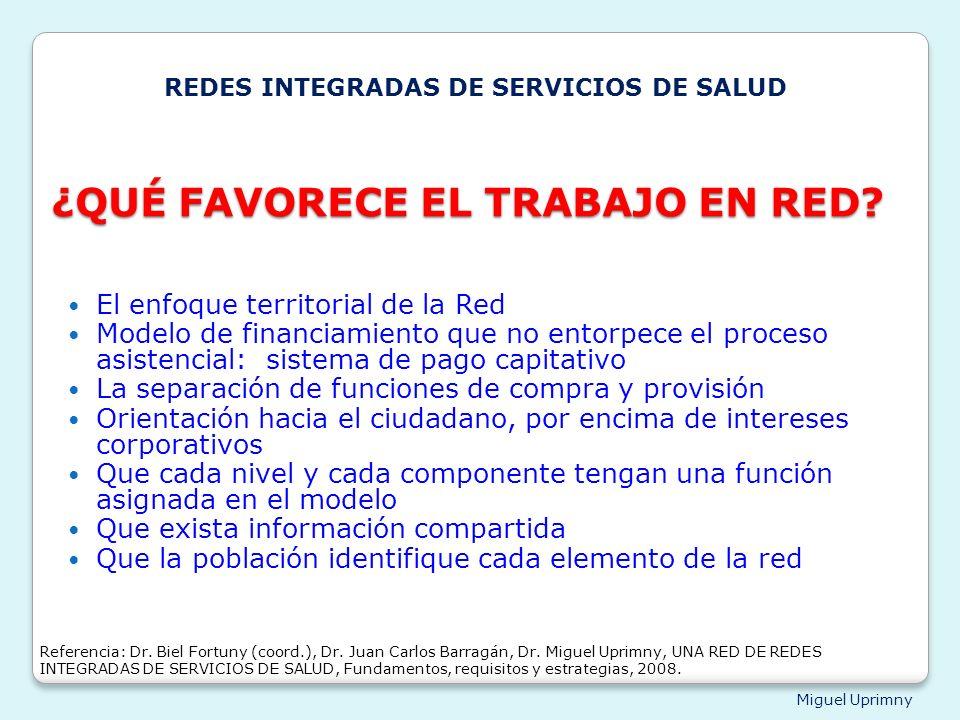 Miguel Uprimny ¿QUÉ FAVORECE EL TRABAJO EN RED? El enfoque territorial de la Red Modelo de financiamiento que no entorpece el proceso asistencial: sis