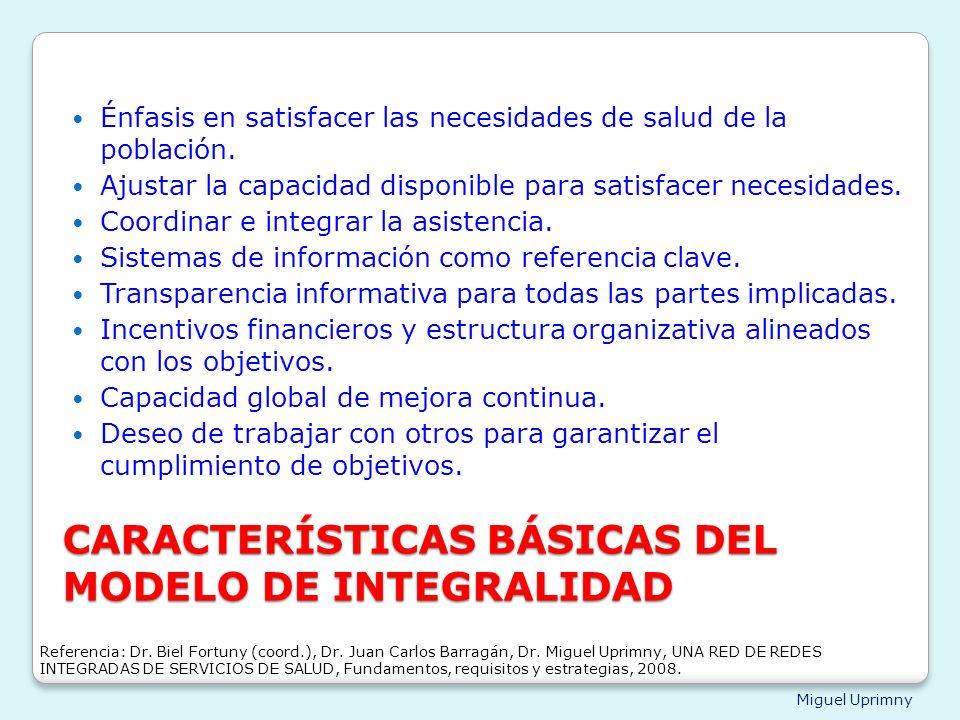 Miguel Uprimny CARACTERÍSTICAS BÁSICAS DEL MODELO DE INTEGRALIDAD Énfasis en satisfacer las necesidades de salud de la población. Ajustar la capacidad