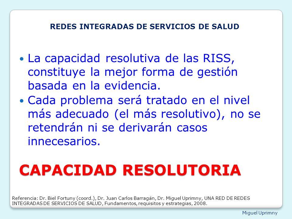Miguel Uprimny CAPACIDAD RESOLUTORIA La capacidad resolutiva de las RISS, constituye la mejor forma de gestión basada en la evidencia. Cada problema s