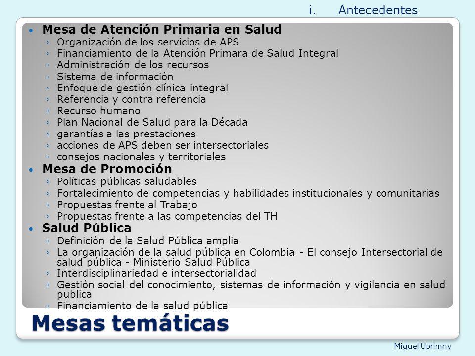 Miguel Uprimny Mesas temáticas Mesa de Atención Primaria en Salud Organización de los servicios de APS Financiamiento de la Atención Primara de Salud