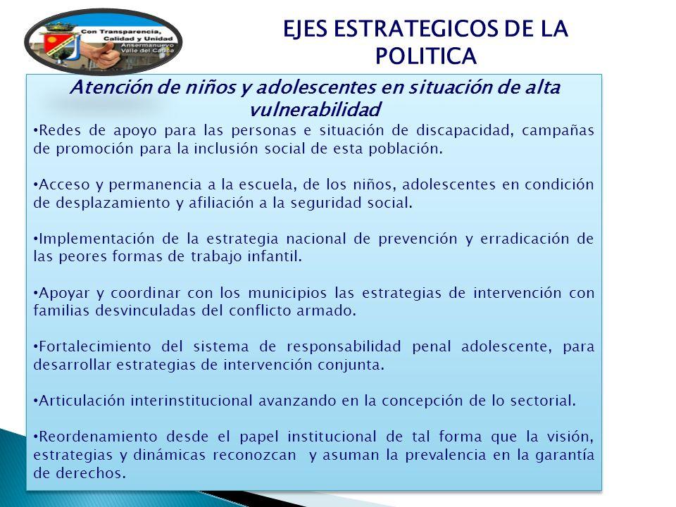EJES ESTRATEGICOS DE LA POLITICA Atención de niños y adolescentes en situación de alta vulnerabilidad Redes de apoyo para las personas e situación de