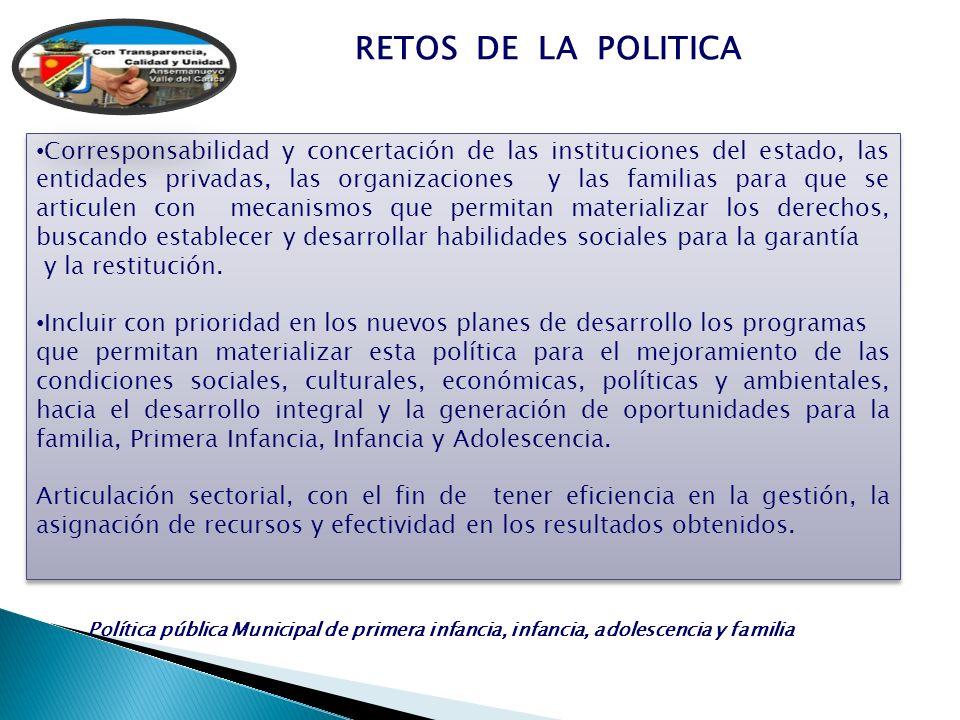 RETOS DE LA POLITICA Corresponsabilidad y concertación de las instituciones del estado, las entidades privadas, las organizaciones y las familias para