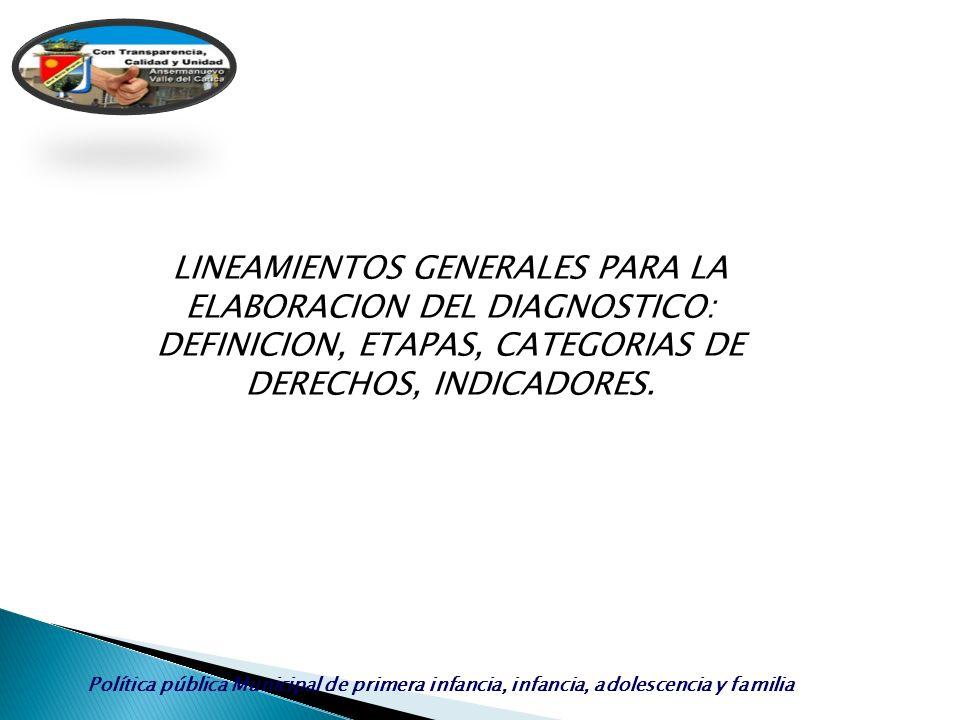 LINEAMIENTOS GENERALES PARA LA ELABORACION DEL DIAGNOSTICO: DEFINICION, ETAPAS, CATEGORIAS DE DERECHOS, INDICADORES.