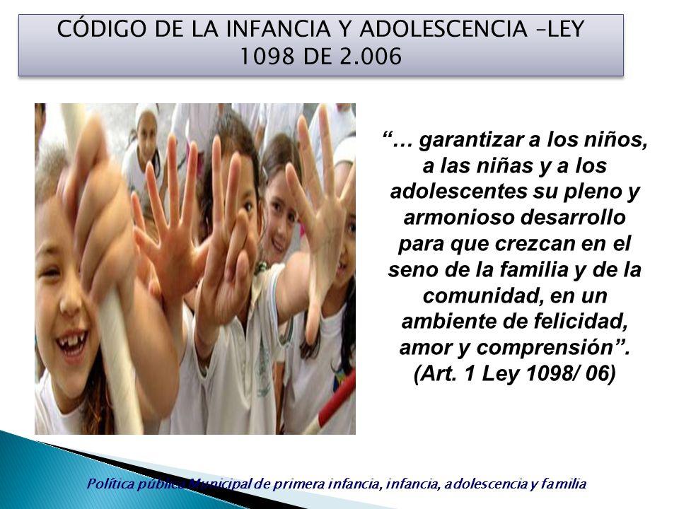 CÓDIGO DE LA INFANCIA Y ADOLESCENCIA –LEY 1098 DE 2.006 … garantizar a los niños, a las niñas y a los adolescentes su pleno y armonioso desarrollo par