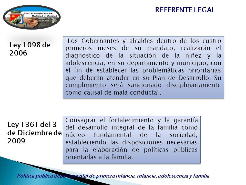 Ley 1361 del 3 de Diciembre de 2009 Ley 1098 de 2006 Los Gobernantes y alcaldes dentro de los cuatro primeros meses de su mandato, realizarán el diagn