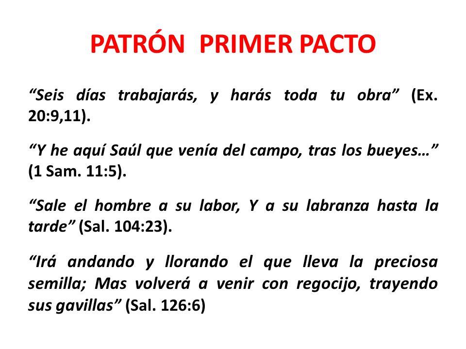 PATRÓN SEGUNDO PACTO El ejemplo de nuestro Señor: el carpintero (Mar.
