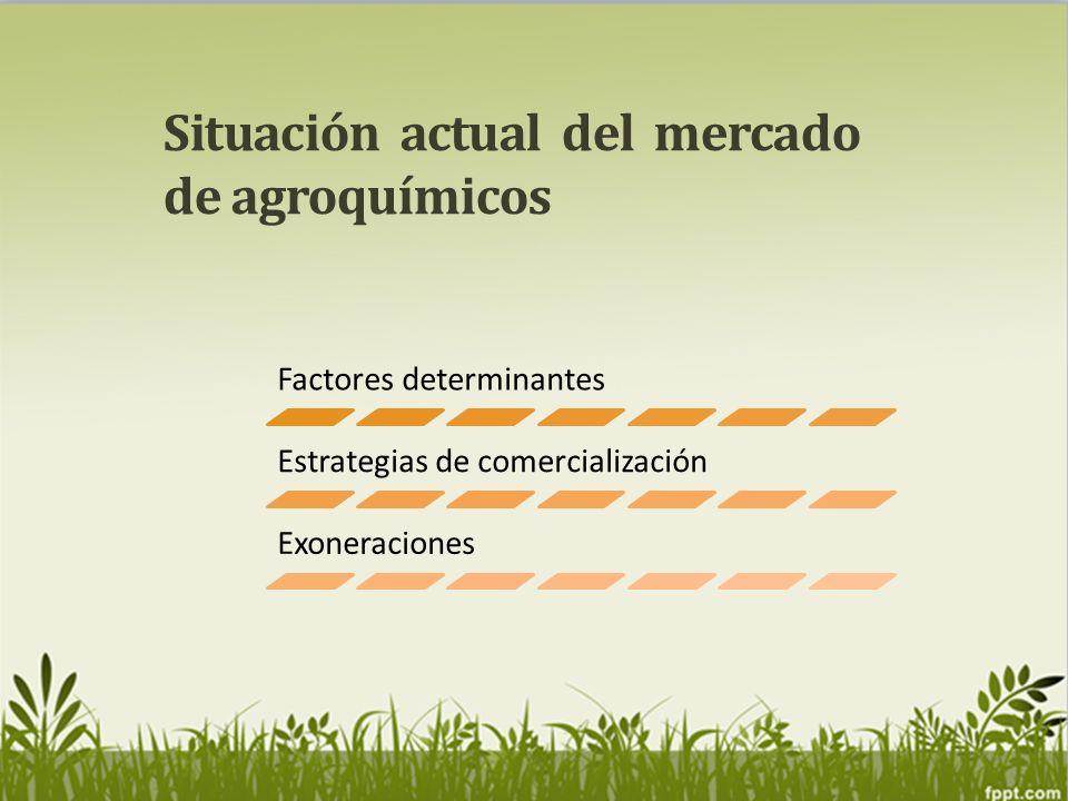 Situación actual del mercado de agroquímicos Factores determinantes Estrategias de comercialización Exoneraciones