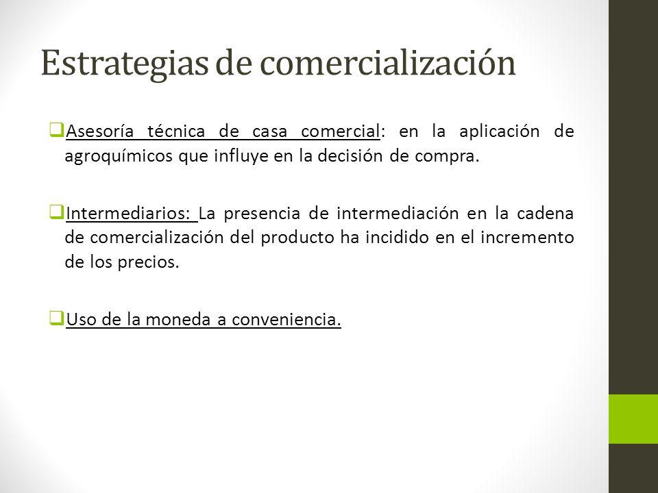Estrategias de comercialización Asesoría técnica de casa comercial: en la aplicación de agroquímicos que influye en la decisión de compra. Intermediar