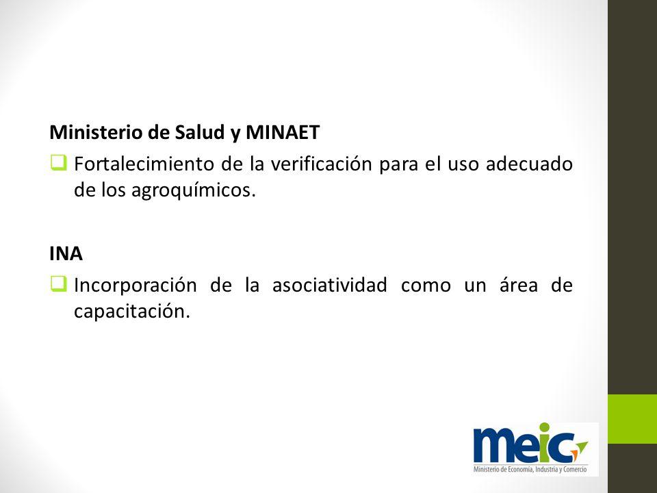 Ministerio de Salud y MINAET Fortalecimiento de la verificación para el uso adecuado de los agroquímicos. INA Incorporación de la asociatividad como u