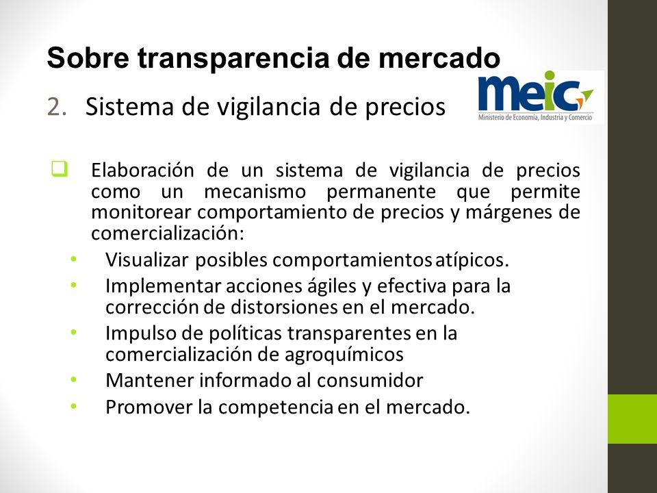 Sobre transparencia de mercado 2.Sistema de vigilancia de precios Elaboración de un sistema de vigilancia de precios como un mecanismo permanente que