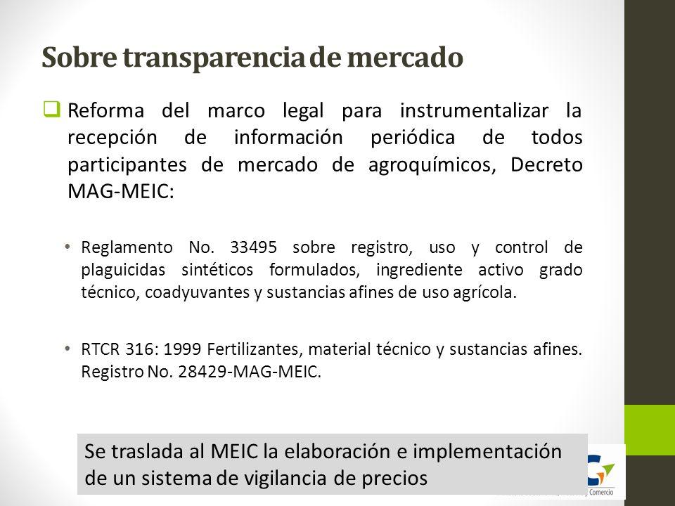 Sobre la promoción de la competencia 1.Alta concentración en pocas empresas importadoras de principios activos tanto en plaguicidas como en fertilizantes.
