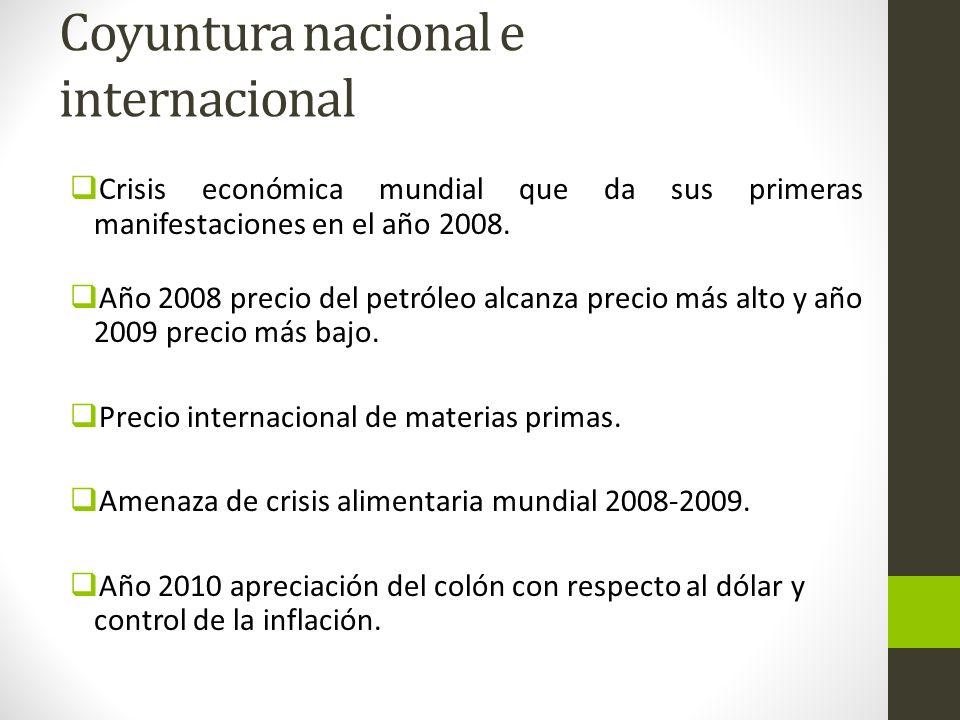 Coyuntura nacional e internacional Crisis económica mundial que da sus primeras manifestaciones en el año 2008. Año 2008 precio del petróleo alcanza p
