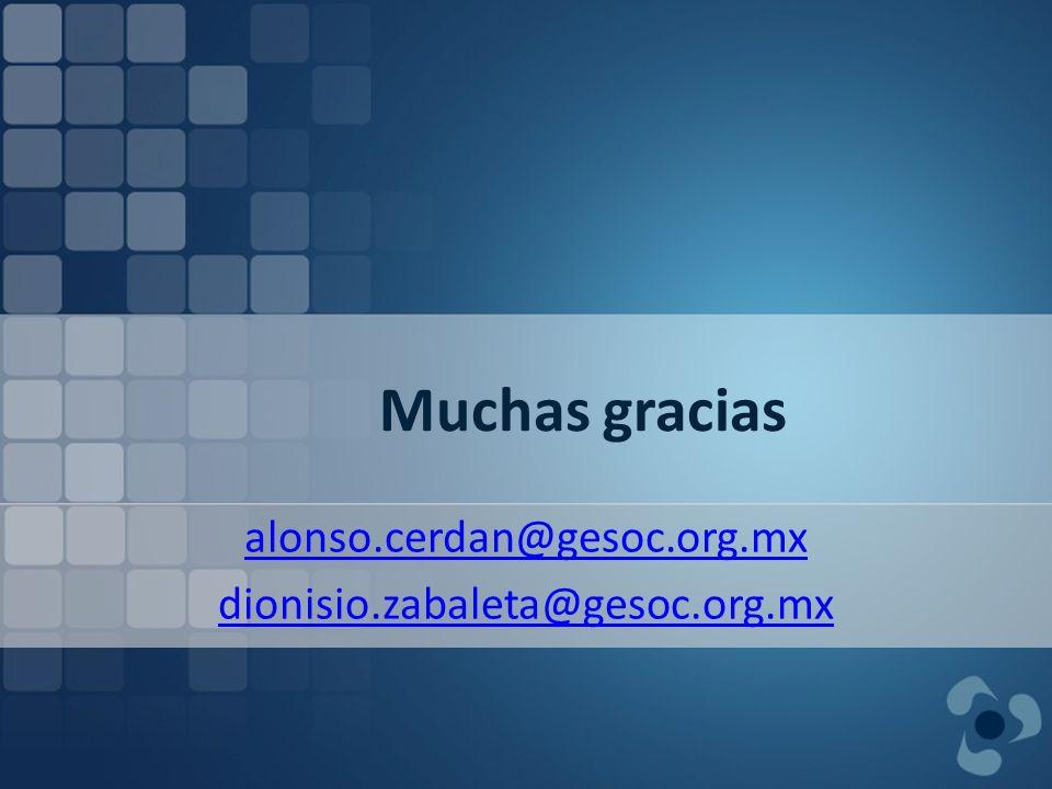 Muchas gracias alonso.cerdan@gesoc.org.mx dionisio.zabaleta@gesoc.org.mx