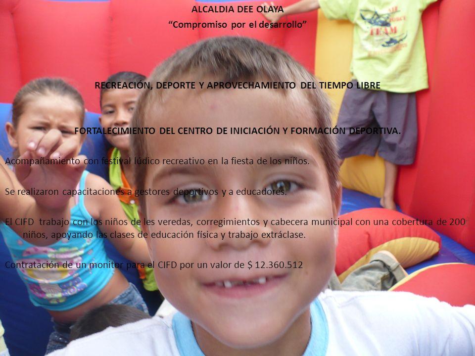 ALCALDIA DEE OLAYA Compromiso por el desarrollo RECREACIÓN, DEPORTE Y APROVECHAMIENTO DEL TIEMPO LIBRE FORTALECIMIENTO DEL CENTRO DE INICIACIÓN Y FORMACIÓN DEPORTIVA.