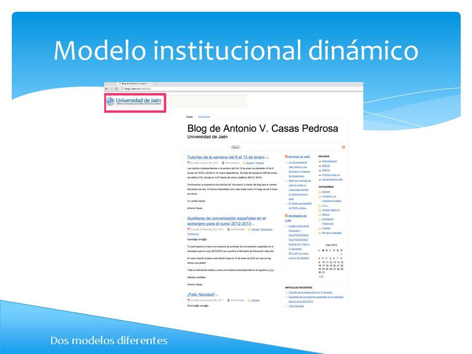 Modelo institucional dinámico Dos modelos diferentes