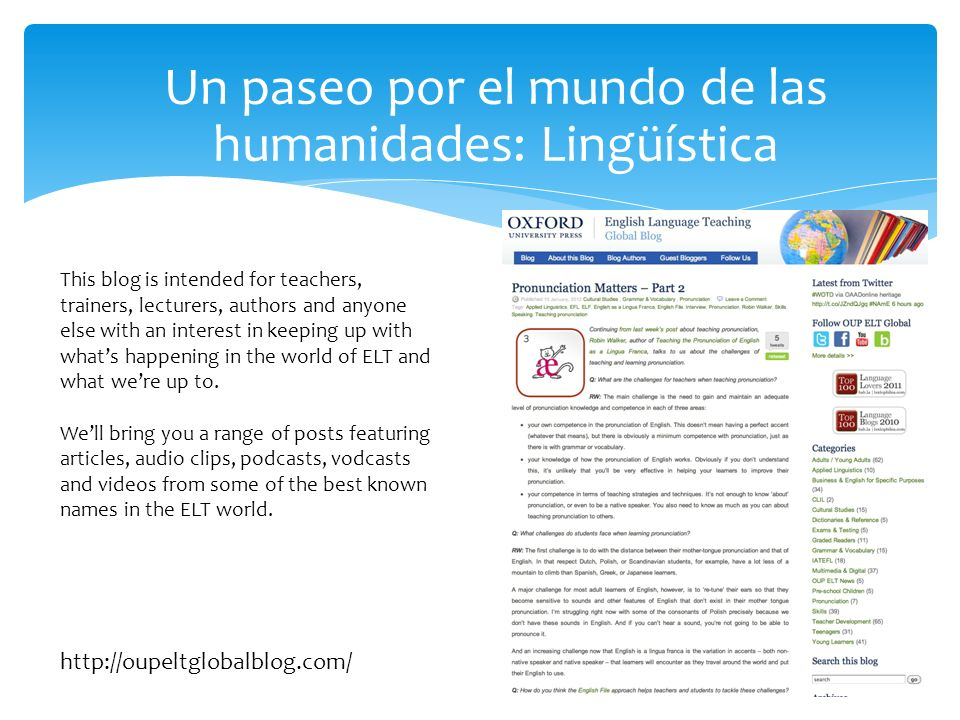 Un paseo por el mundo de las humanidades: Lingüística This blog is intended for teachers, trainers, lecturers, authors and anyone else with an interest in keeping up with whats happening in the world of ELT and what were up to.