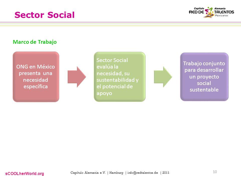 sCOOLherWorld.org Capítulo Alemania e.V. | Hamburg | info@redtalentos.de | 2011 Sector Social ONG en México presenta una necesidad específica Sector S