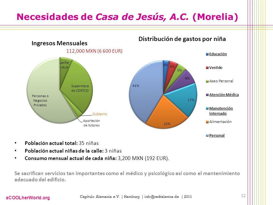 sCOOLherWorld.org Capítulo Alemania e.V. | Hamburg | info@redtalentos.de | 2011 Necesidades de Casa de Jesús, A.C. (Morelia) Población actual total: 3