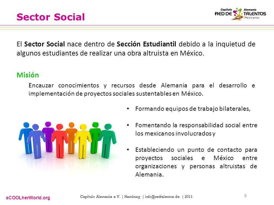 sCOOLherWorld.org Capítulo Alemania e.V. | Hamburg | info@redtalentos.de | 2011 Sector Social El Sector Social nace dentro de Sección Estudiantil debi