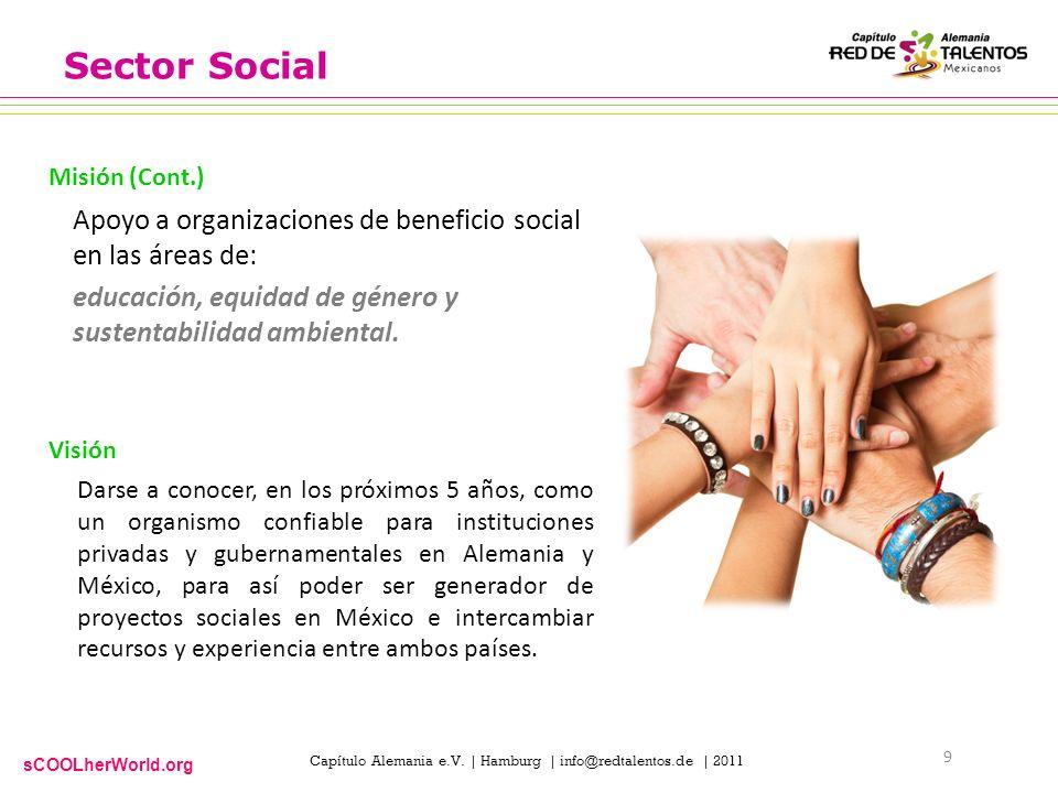 sCOOLherWorld.org Capítulo Alemania e.V. | Hamburg | info@redtalentos.de | 2011 Sector Social Apoyo a organizaciones de beneficio social en las áreas