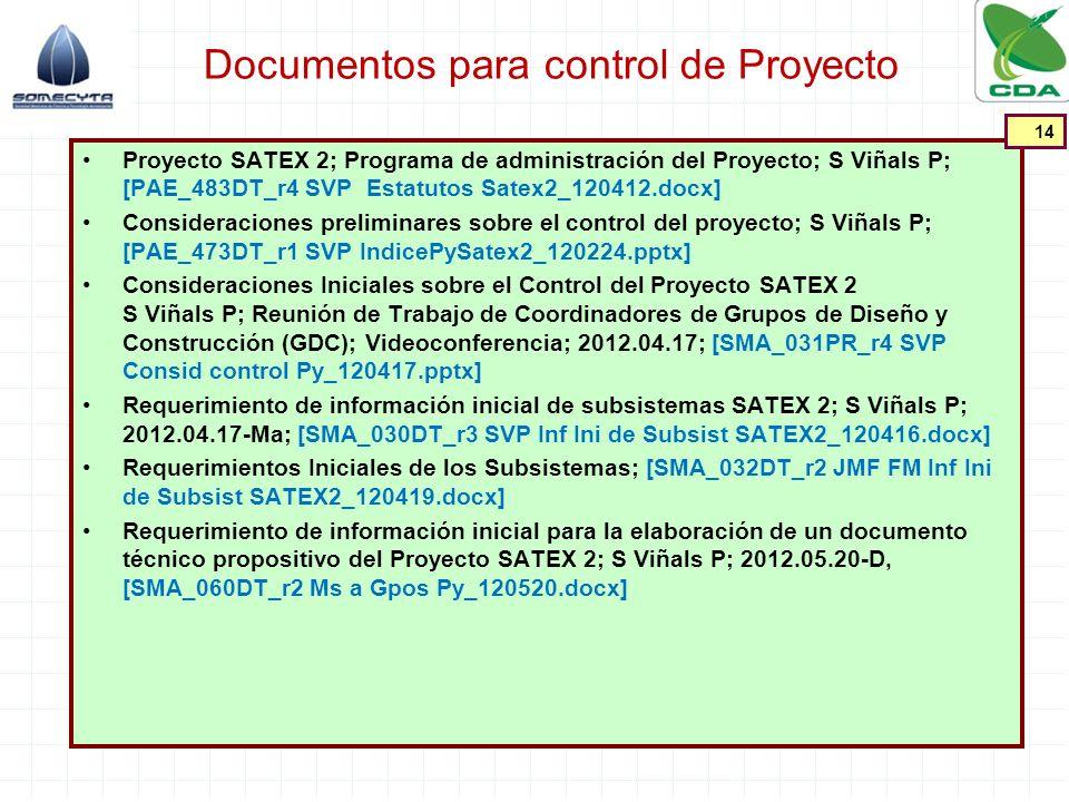 Documentos para control de Proyecto Proyecto SATEX 2; Programa de administración del Proyecto; S Viñals P; [PAE_483DT_r4 SVP Estatutos Satex2_120412.d