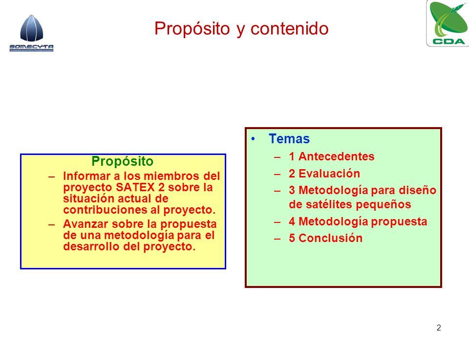 Propósito –Informar a los miembros del proyecto SATEX 2 sobre la situación actual de contribuciones al proyecto. –Avanzar sobre la propuesta de una me