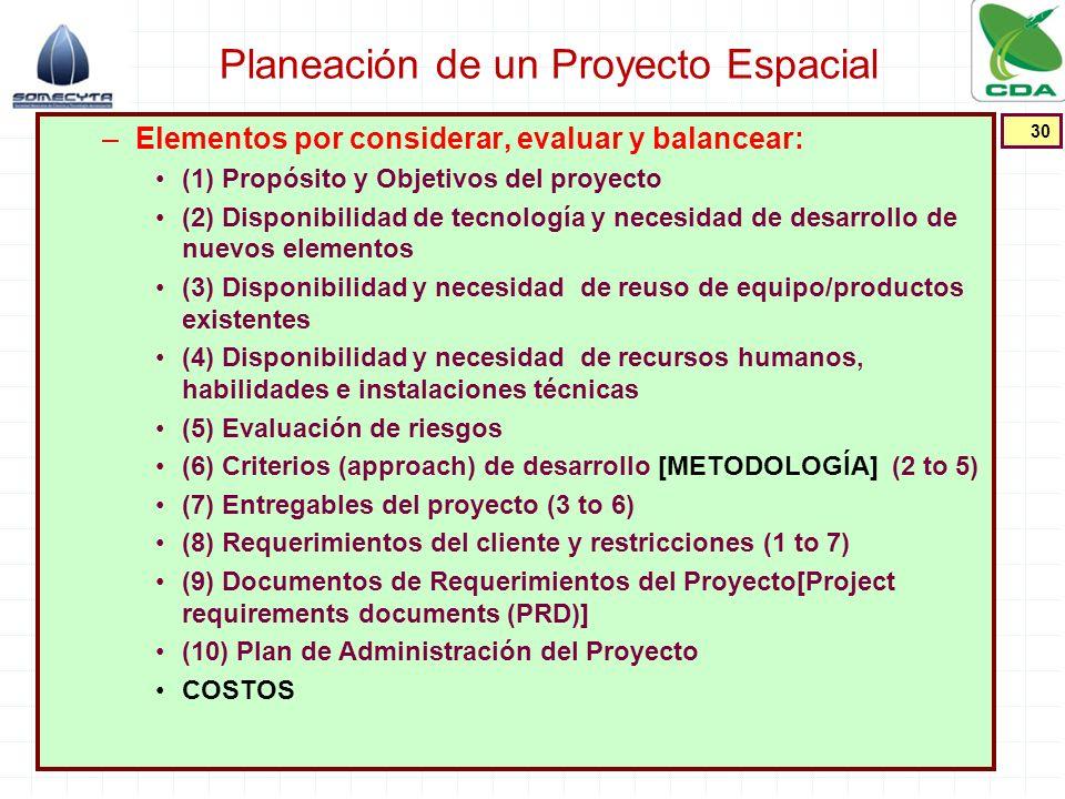 Planeación de un Proyecto Espacial –Elementos por considerar, evaluar y balancear: (1) Propósito y Objetivos del proyecto (2) Disponibilidad de tecnol