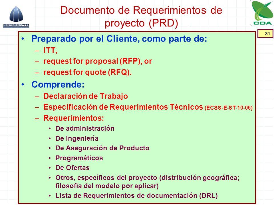 Documento de Requerimientos de proyecto (PRD) Preparado por el Cliente, como parte de: –ITT, –request for proposal (RFP), or –request for quote (RFQ).