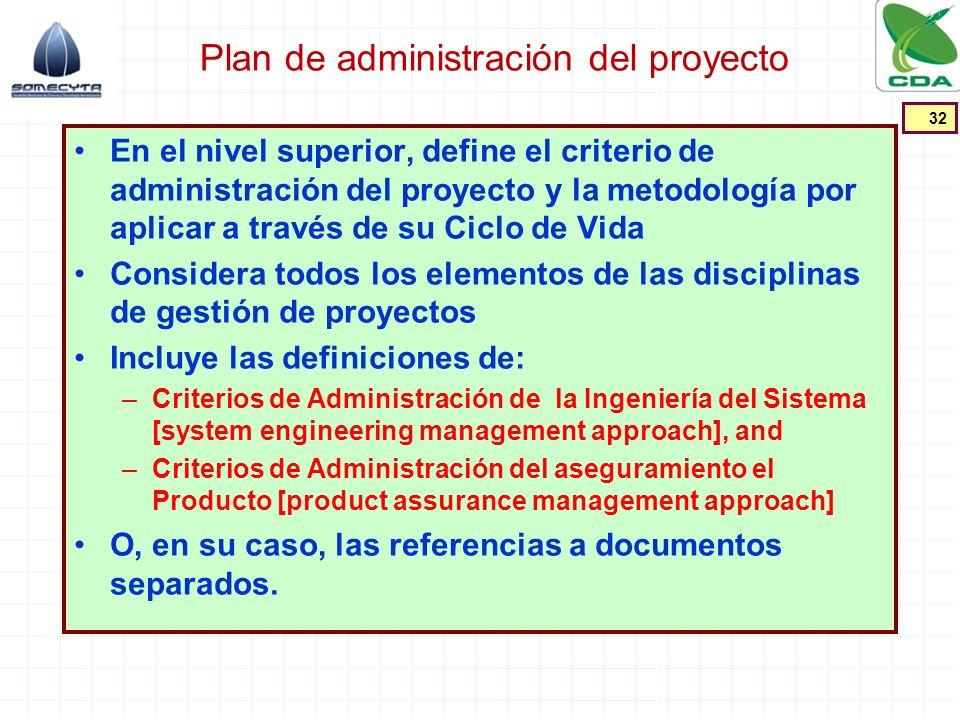 Plan de administración del proyecto En el nivel superior, define el criterio de administración del proyecto y la metodología por aplicar a través de s