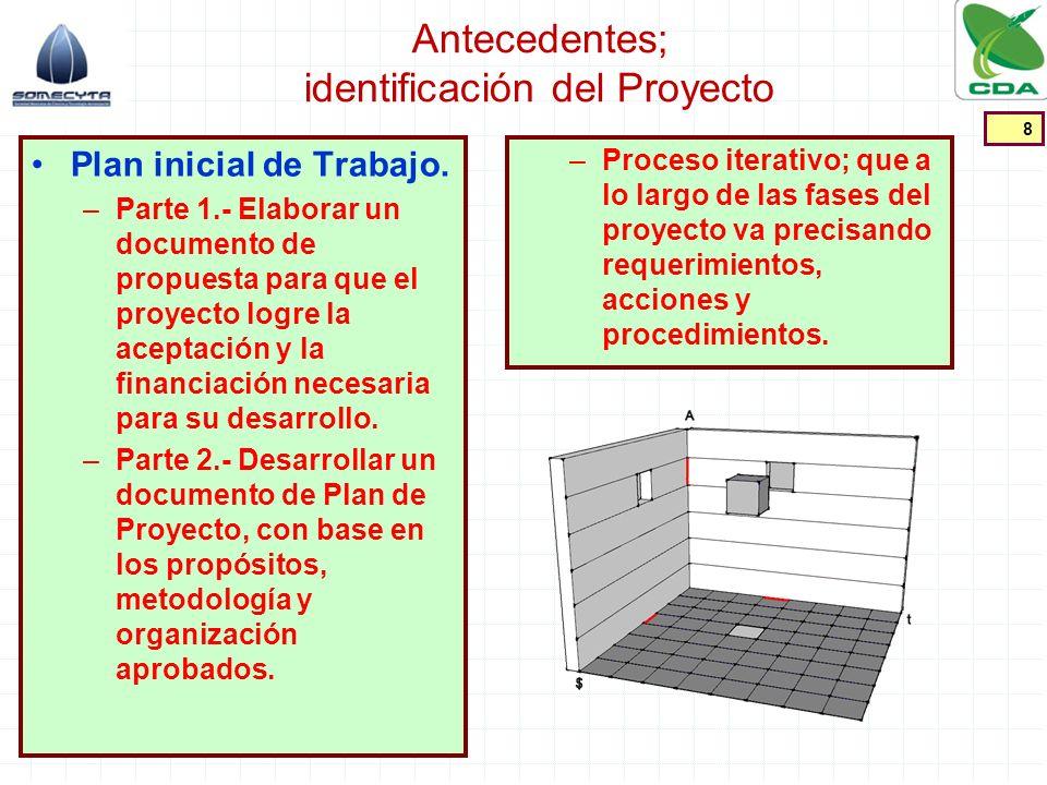 Antecedentes; identificación del Proyecto Plan inicial de Trabajo. –Parte 1.- Elaborar un documento de propuesta para que el proyecto logre la aceptac