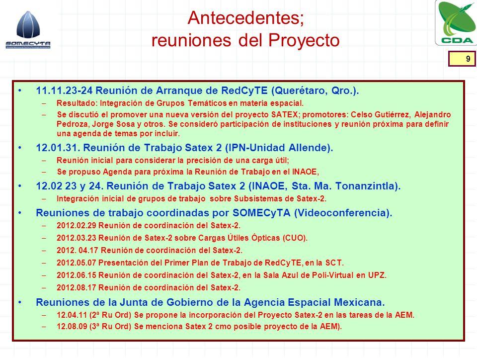 Antecedentes; documentos de control Satex 1 Application to use the A.S.A.P.; C Gutiérrez M; [doc satex 1-p1.pdf] Especificación de Ensamble, Integración y Prueba del Satex 1; IMC; [doc satex 1-2p.pdf] Grupos de trabajo del proyecto SATEX 2; C Gutiérrez M; [grupos de trabajo SATEX 2-7 junio.doc] Reunión virtual de participantes Satex 2; C Gutiérrez M; [reunion virtual 17 de agosto 2012.pdf] Proyecto SATEX 2; Programa de administración del Proyecto; S Viñals P; [PAE_483DT_r4 SVP Estatutos Satex2_120412.docx] Consideraciones preliminares sobre el control del proyecto; S Viñals P; [PAE_473DT_r1 SVP IndicePySatex2_120224.pptx] Consideraciones Iniciales sobre el Control del Proyecto SATEX 2 S Viñals P; Reunión de Trabajo de Coordinadores de Grupos de Diseño y Construcción (GDC); Videoconferencia; 2012.04.17; [SMA_031PR_r4 SVP Consid control Py_120417.pptx] Requerimiento de información inicial de subsistemas SATEX 2; S Viñals P; 2012.04.17-Ma; [SMA_030DT_r3 SVP Inf Ini de Subsist SATEX2_120416.docx] Requerimientos Iniciales de los Subsistemas; [SMA_032DT_r2 JMF FM Inf Ini de Subsist SATEX2_120419.docx] Requerimiento de información inicial para la elaboración de un documento técnico propositivo del Proyecto SATEX 2; S Viñals P; 2012.05.20-D, [SMA_060DT_r2 Ms a Gpos Py_120520.docx] 10