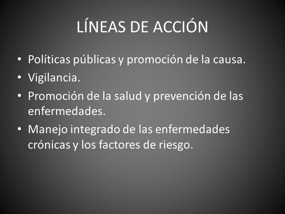 LÍNEAS DE ACCIÓN Políticas públicas y promoción de la causa. Vigilancia. Promoción de la salud y prevención de las enfermedades. Manejo integrado de l