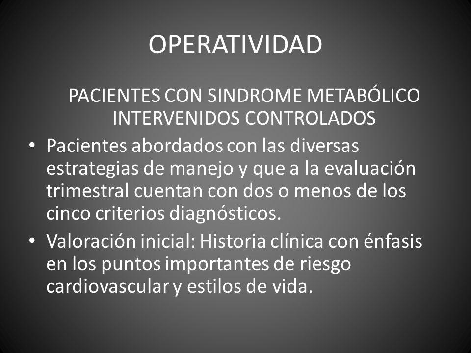 OPERATIVIDAD PACIENTES CON SINDROME METABÓLICO INTERVENIDOS CONTROLADOS Pacientes abordados con las diversas estrategias de manejo y que a la evaluaci