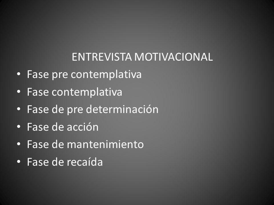ENTREVISTA MOTIVACIONAL Fase pre contemplativa Fase contemplativa Fase de pre determinación Fase de acción Fase de mantenimiento Fase de recaída