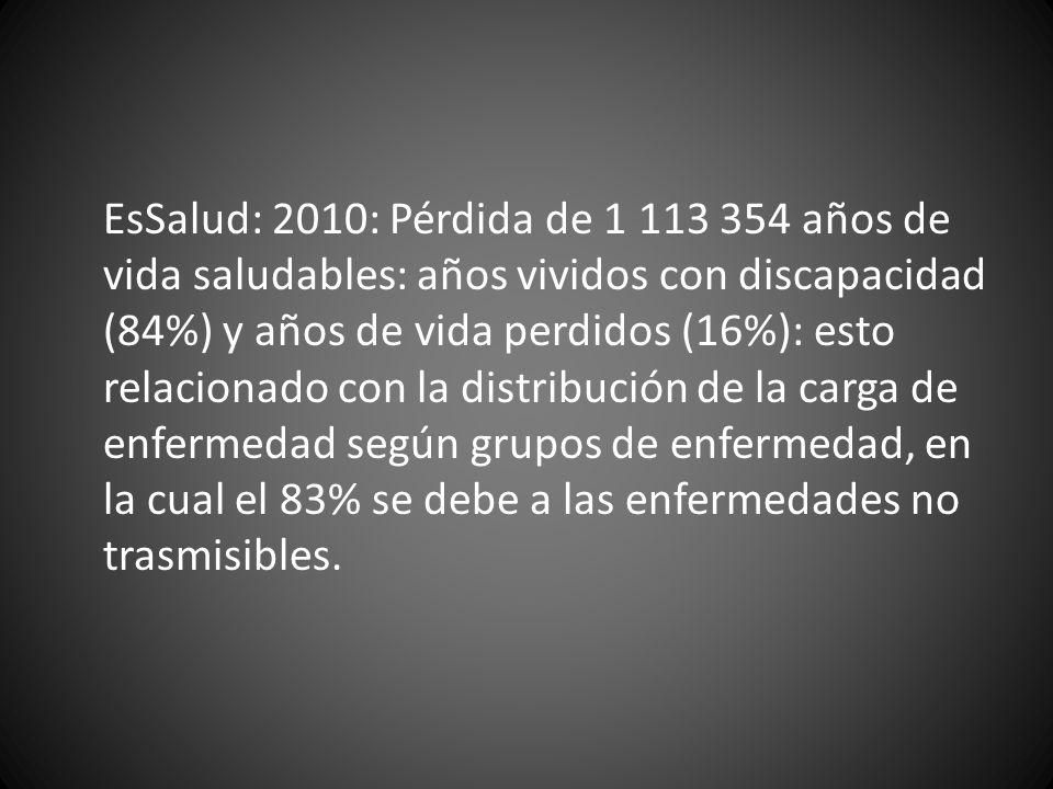 EsSalud: 2010: Pérdida de 1 113 354 años de vida saludables: años vividos con discapacidad (84%) y años de vida perdidos (16%): esto relacionado con l