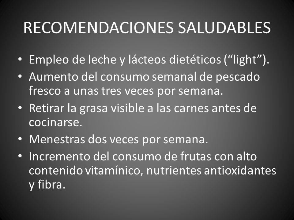 RECOMENDACIONES SALUDABLES Empleo de leche y lácteos dietéticos (light). Aumento del consumo semanal de pescado fresco a unas tres veces por semana. R