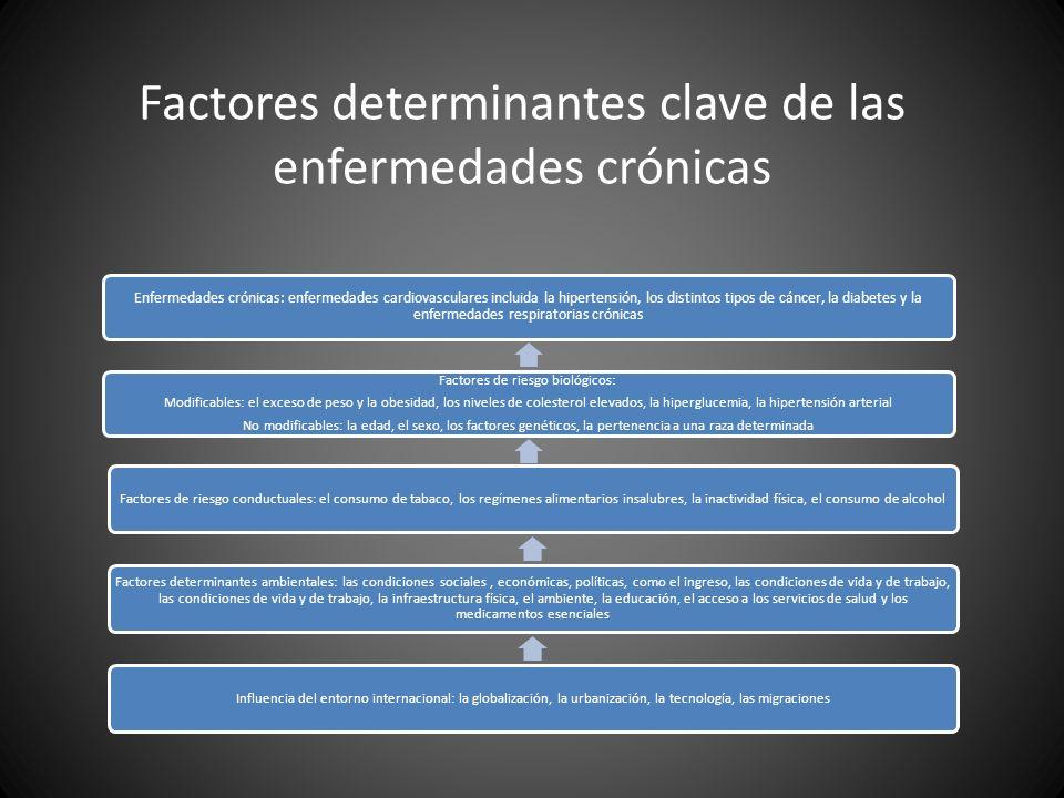 Factores determinantes clave de las enfermedades crónicas Enfermedades crónicas: enfermedades cardiovasculares incluida la hipertensión, los distintos