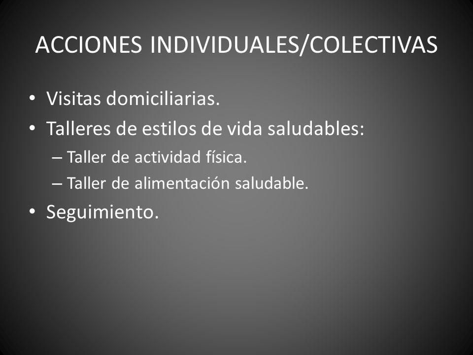 ACCIONES INDIVIDUALES/COLECTIVAS Visitas domiciliarias. Talleres de estilos de vida saludables: – Taller de actividad física. – Taller de alimentación